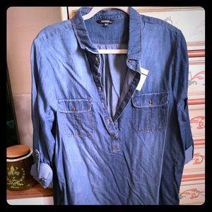 NWT XXL denim long sleeve shirt